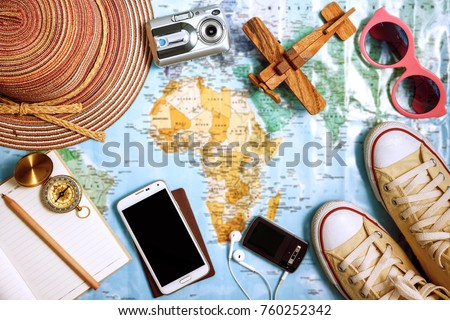 Travel plan, trip vacation, tourism mockup - Outfit of traveler