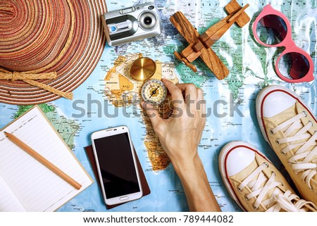 Travel plan, trip vacation, tourism mockup - Outfit of traveler - Shutterstock ID 789444082