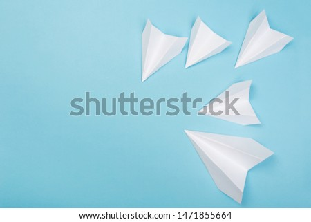 Travel plane concept.Mockup design of travel concept with group airplane on blue color background with space for copy space