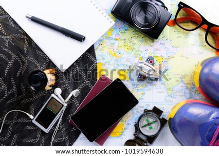 Travel Planner with all accessories equipment for travel, trip vacation, tourism mockup - Outfit of traveler - Shutterstock ID 1019594638