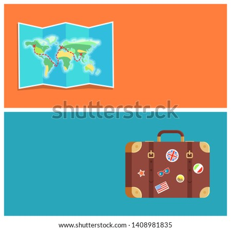 Travel planning web pages text sample with headlines worl map and luggage decorated stickers of famous landmarks collection raster illustration