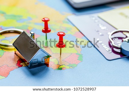 Travel preparation and booking with credit cards on map #1072528907