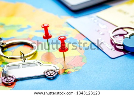 Travel preparation and booking with credit cards on map #1343123123