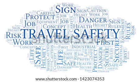 Travel Safety word cloud. Word cloud made with text only.