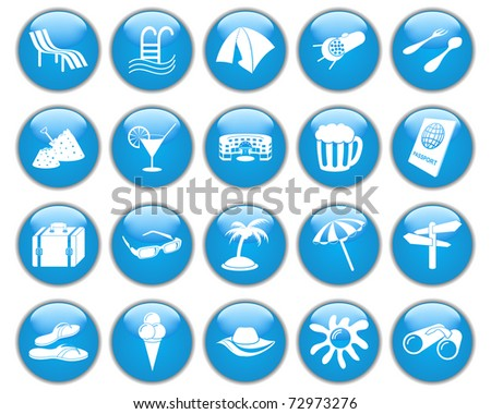 Travel set of different web icons