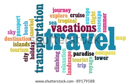travel sickness info-text graphics and arrangement word clouds concept