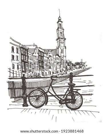 Travel sketch. Liner sketches homes of Amsterdam, Holland, hand drawing sketch, graphic illustration. Hand drawn travel postcard.  Urban sketch in black color isolated on white background.