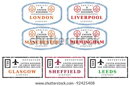 Travel stamps from United Kingdom (UK). Grungy stamps (not real). Argentinian destinations: London, Liverpool, Manchester, Birmingham, Glasgow, Sheffield and Leeds.