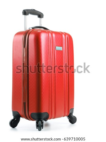 Shutterstock Travel suitcase isolated on white background.