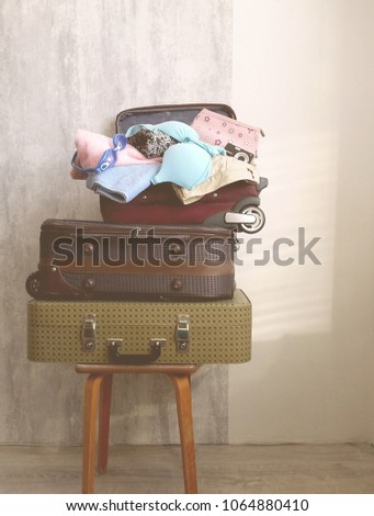 Travel suitcase prepareing concept, preparation for vacation, travel or vacation. #1064880410