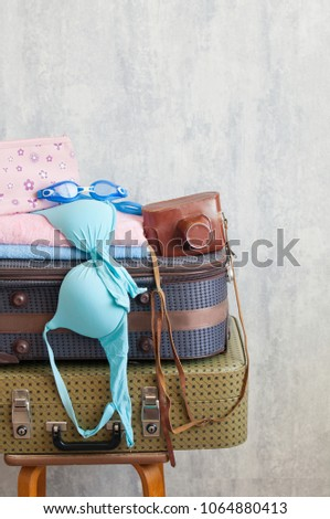 Travel suitcase prepareing concept, preparation for vacation, travel or vacation. #1064880413