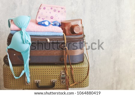 Travel suitcase prepareing concept, preparation for vacation, travel or vacation. #1064880419