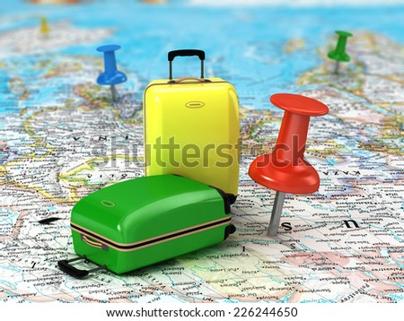 Travel Suitcase with pushpins  and world map.