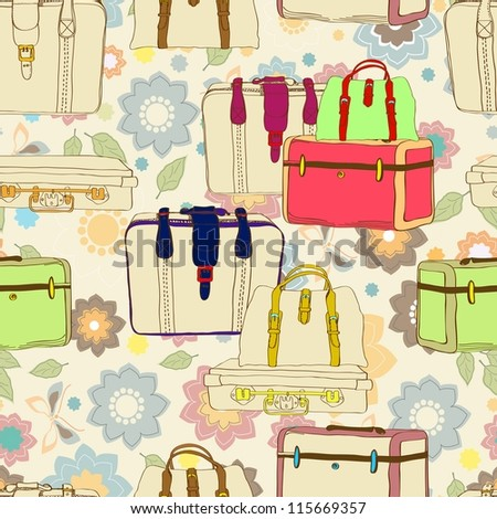 travel suitcases seamless illustration with floral patter