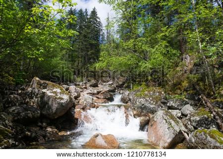 Travel the mountains Dusse Alin Russia far East Khabarovsk Krai. Rapid Creek a Creek in the mountains of Dusse Alin