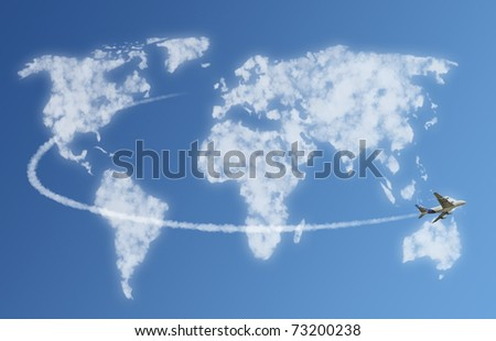 Travel the world cloud concept - stock photo
