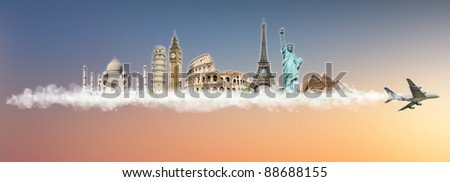 Travel the world clouds concept: