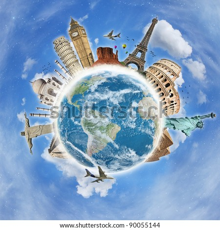 Travel the world clouds concept
