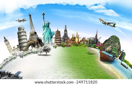 Travel the world monument concept - Shutterstock ID 249711820