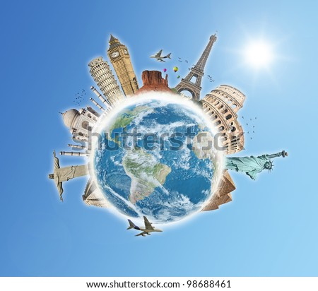 Travel the world monument concept blue sky