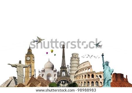 Travel the world monuments concept on white background