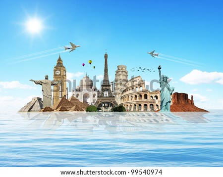 Travel the world monuments concept water