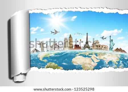 Travel the world monuments torned paper concept