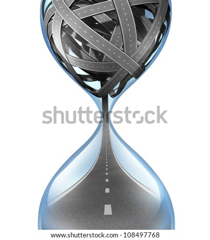 Travel time and transportation delivery deadline concept with tangled roads in an hour glass and a single road spilling out from the bottom as a symbol of traveling stress during rush hour.