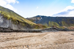 travel to Iceland - plateau in Graenagil canyon, Landmannalaugar area of Fjallabak Nature Reserve in Highlands region of Iceland in september