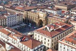 travel to Italy - above view of Piazza della Repubblica ( Republic Square) in Florence city from Campanile