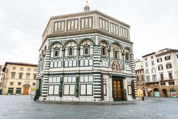 travel to Italy - Florence Baptistery (Battistero di San Giovanni, Baptistery of Saint John) on Piazza San Giovanni in morning