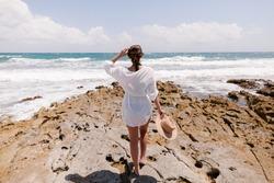 Travel to Mexico. Caribbean Sea. Girl on the ocean.