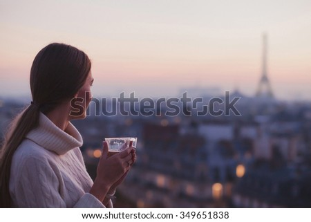 travel to Paris, woman looking at Eiffel tower and beautiful panorama of the city #349651838