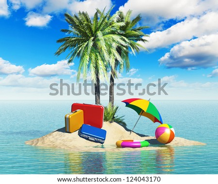 Travel, tourism and vacations concept: travel cases luggage, umbrella. beach ball and lifebelt on lonely island with green palm trees in tropical sea water summer landscape with blue sky with clouds