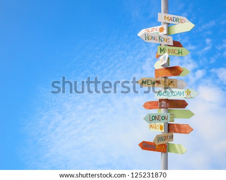travel traffic sign and blue sky Stock photo ©