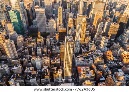 Travel USA, New York. Aerial view of Manhattan, NYC. Manhattan from above. #776243605