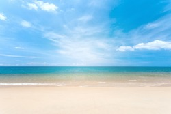 Travel vacation background concept at summer beach with the sunny sky at Phuket island, Thailand. Beautiful scene of blue sky and clouds on a sunny day. Empty holiday sea where horizon can see clearly