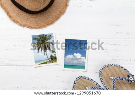 7f200866a715 Travel vacation background concept with beach hat
