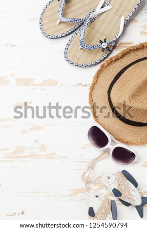 a7ef022bd44 Travel vacation background concept with sun hat