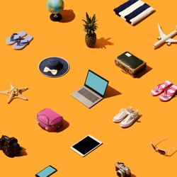 Travel, vacations and tourism background with isometric objects and accessories