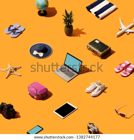 Travel, vacations and tourism background with isometric objects and accessories #1382744177