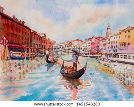Travel Venice canal with tourist on gondola. Painting landmark Italy with historic view Italy. Watercolor landscape original painting multicolored on paper, illustration landmark of the world.