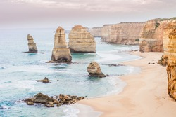 Travel Victoria, Australia, Great Ocean Road. Beautiful scenic landscape view of the tourist popular attraction twelve apostles, coastline of Tasman sea while sunset light.