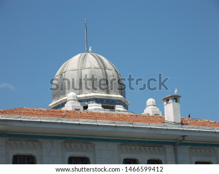 Travel view of Princes Islands featuring Buyukada boat station dome. The image location is Istanbul in Turkey Europe, Europe. #1466599412