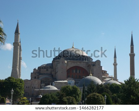 Travel view of Saint Sophie featuring church basilica. The image location is Istanbul in Turkey Europe, Europe. #1466282177