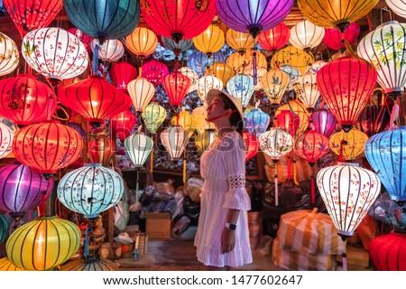 Travel woman choosing lanterns in Hoi An, Vietnam Stockfoto ©