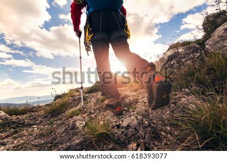 Traveler feet hiking in mountains #618393077