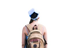 Traveler girl with brown backpack. Man isolated on white background. Travel, tourism and active lifestyle concept. Back view.