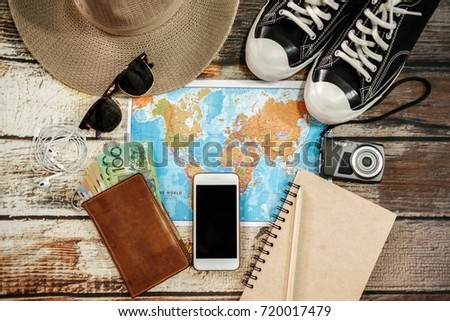 Traveler items vacation travel accessories holiday long weekend day off travelling stuff equipment background view concept - Shutterstock ID 720017479