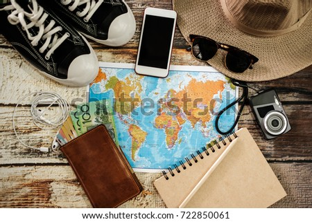 Traveler items vacation travel accessories holiday long weekend day off travelling stuff equipment background view concept - Shutterstock ID 722850061
